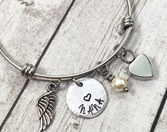 Cremation Urn Jewelry - Memorial Bracelet - Remembrance Jewelry - Adjustable Wire Bangle - Personalized Bracelet