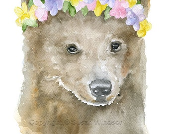 Brown Bear Cub Floral Watercolor Painting 4 x 6 Fine Art Giclee Reproduction - Woodland Nursery Art