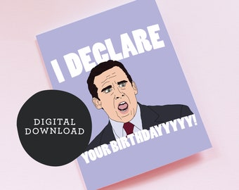 """Printable Michael Scott Birthday Card- The Office - 'I Declare Bankruptcy/Your Birthday"""" DIGITAL DOWNLOAD"""