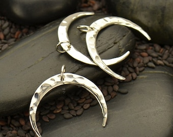 Medium Hammered Crescent Moon Necklace - Solid 925 Sterling Silver Pendant - Insurance Included