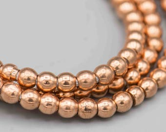 """Smooth Round Copper Beads with 2mm Hole 150 5mm Beads  on 24"""" Strand SKU-MRD5C-5"""