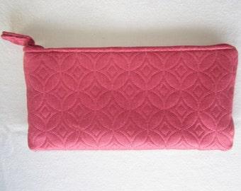Clutch Purse in Raspberry Pink Jacquard Fabric