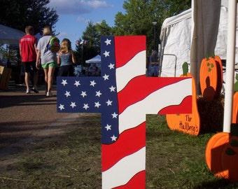 Patriotic Cross 4th Fourth of July Americana Yard Art Lawn Decoration