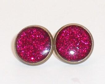 Watermelon Pink Glitter 10mm Post Earrings