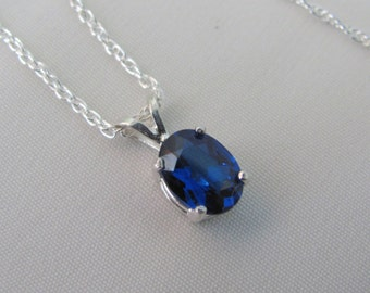 Sapphire Necklace, Blue Sapphire Pendant, September Birthstone Jewelry, Lab Grown Gemstone, Sterling Silver, Gemstone Necklace