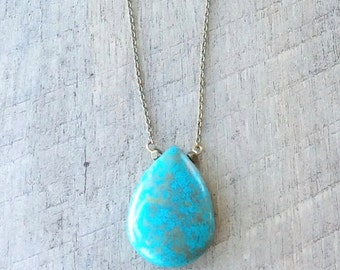 Turquoise Howlite Teardrop Necklace, Long Necklace, Pendant Necklace, Rustic Necklace, Rustic Modern Jewelry, Free Shipping U.S.