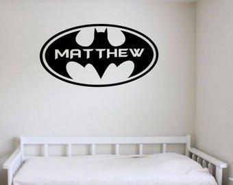 Vinyl Batman Wall Decal, Personalized Boys Room Decal, Vinyl Batman, Vinyl  Superhero Decal