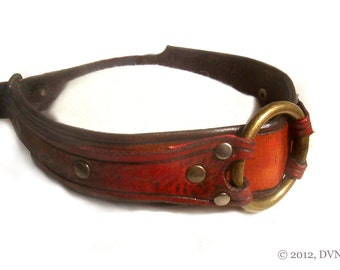 Leather BDSM Collar, Slave Collar, Bondage Collar for Submissive, with Captive Ring