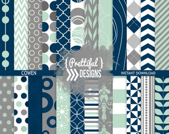 Navy Mint Gray Digital Paper Pack Backgrounds - Cowen