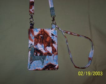 Horse Print Fabric Cell Phone Purse