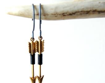 Brass Arrow Earrings - black wire wrapped arrows