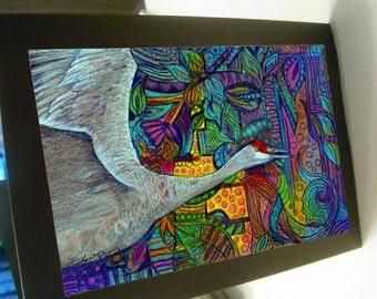 greeting card print of original art-  crane  Zentangle