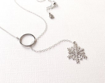 Snowflake Lariat Necklace in Sterling Silver