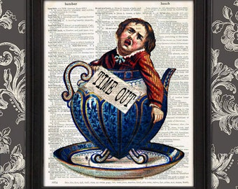 Weird Boy in Tea Cup TIME OUT - funny kitchen decor time out sign gift for mom kids time out chair weird stuff Victorian Unique gift for her
