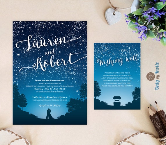 Starry Night Wedding Invitation And Wishing Well Card Under