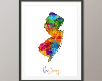 New Jersey Map USA, Art Print (1160)