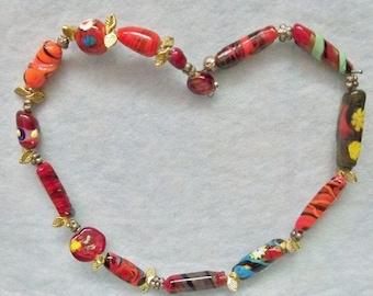 Venetian Murano Art Glass Bead Necklace ~ 22 Inch Glitter Foil Millifiori ~ Ready To Wear ~ New Condition