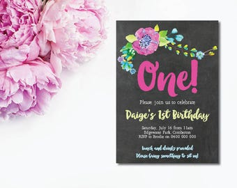 1st Birthday Invitation - Custom Made Invitation - Printable Invitation - Kids Invitation - Floral Invitation - Watercolor Floral Invitation