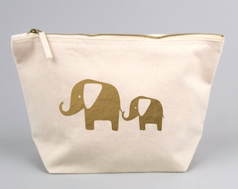 Large Zipped Make up / Toiletry Bag with Gold foiled Mummy and Baby Elephant. Baby Shower, New Mum, New Baby