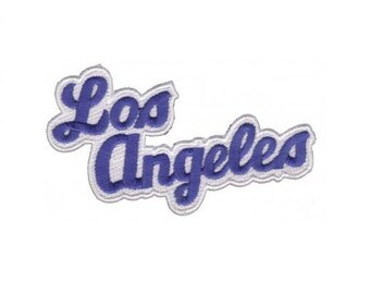 Los Angeles Script Patch - California, Blue and White (Iron on)