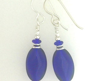 Cobalt Blue Glass And Silver Earrings #3
