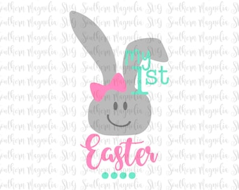 My First Easter - Girl SVG - First Easter Design  - Easter SVG - Chick - Bunny - Peeps - Bow - Spring - Baby - Girl - Cut File - SVG Design