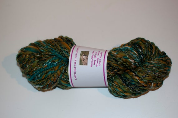 Green Merino/Silk Handspun Yarn 100g/102yds