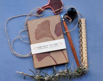 "Handmade notebook, handprinted journal, writers journal, gift for her, ""gingko leaves"""