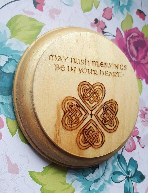 Irish Blessing Celtic Knot Wood Wall Hanging Decor Lightly