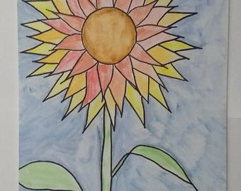 Sunflower Watercolor Painting color may vary
