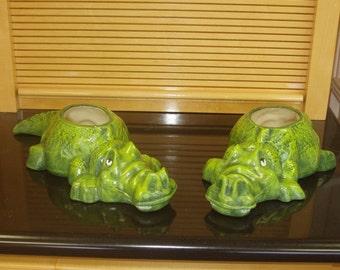Pair of ceramic alligator planter flower pots hand painted alligators