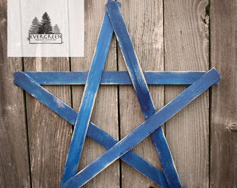 Large Wooden Rustic Home Star- Navy Blue