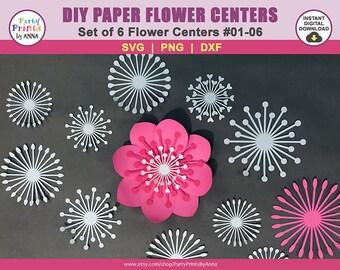 6 SVG Paper Flower Centers/Centres, svg png dxf, Flower Center DIGITAL Cut Files,instant download,SVG Flower Centers, Paper Flower Stamen