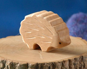 Carved Wooden HEDGEHOG Porcupine, Handmade Toy Animal, Waldorf Inspired