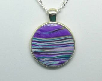 Polymer Clay Round Pendant Necklace I10022