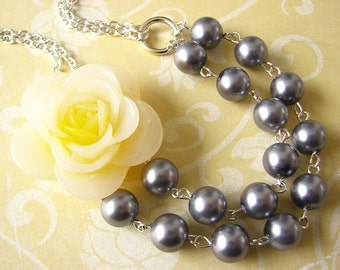 Statement Necklace Silver Necklace Grey Necklace Resin Flower Necklace Bib Necklace Yellow Necklace