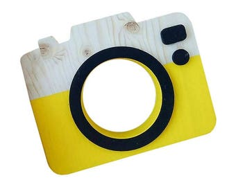 Handmade wooden toy camera