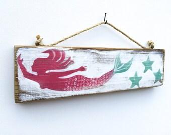 Personalize This Original Art Item-Mermaid Art Handmade on Reclaimed Wood Mangoseed
