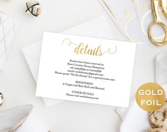 Gold Wedding Details Card - Gold Reception - Printable Details Card Template - Cards Information - Downloadable wedding #WDH657DT276