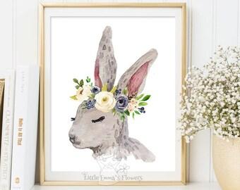 Rabbit print, Cute rabbit wall art, Woodlands rabbit, Nursery decor, Watercolor flower, Bunny rabbit art, Rabbit baby nursery poster 6-25