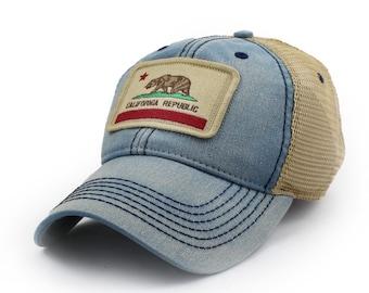 California Flag Patch Trucker Hat, Americana Blue