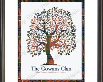 Scotland, family tree, tartan, personalized, clan, gift, Wedding, birthday, anniversary, Christmas, wedding