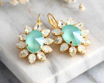 Mint Earrings, Mint Drop Earrings, Bridal Mint Opal Earrings, Seaglass Earrings, Seafoam Earrings, Pistachio Earrings, Bridesmaids Earrings
