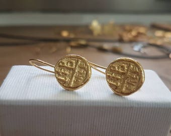 Gold coin earrings, antique coin earrings, coin earrings, antique earrings gold, drop coin earrings, coin earrings, delicate gold earrings