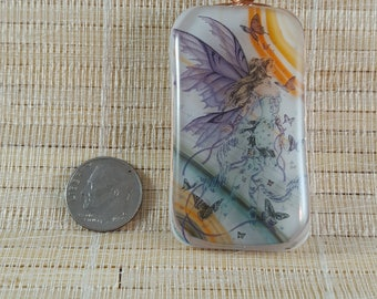 Large Fairy Fused Glass Pendant- Fantasy Glass Pendant