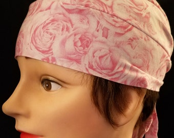 Handmade Pink Roses Skull Cap, Chemo Cap, Surgical Cap, Hair Loss, Bald, Alopicha, Hat, Helmet Liner, Head Wrap, Do Rag, Motorcycle, Caps