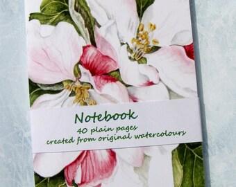 Bullet Journal, Notes, Apple Blossom Notebook, Spring Flower, Hand-stitched Jotter, Floral