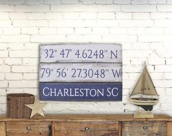 Rustic Wood Sign Art Charleston South Carolina Coordinates 24x14