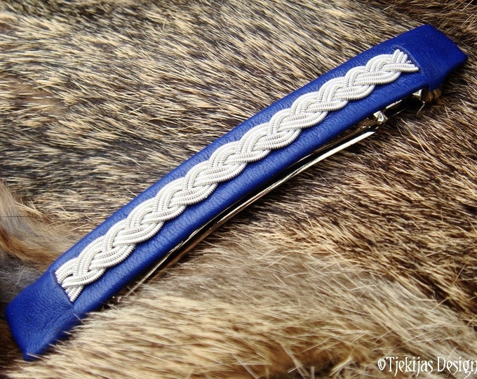 Sami Hair Clip SLEIPNER Norse Viking Blue Reindeer Leather Barrette Clip with braided Pewter silver wire - Handcrafted in your Color