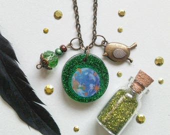 14) Pendant Green Earth + 2nd band for free change!